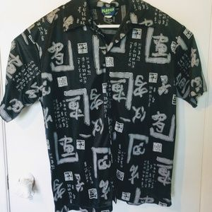 Vtg PLASTIX IDOL Men Short Sleeve Black  Buttonup